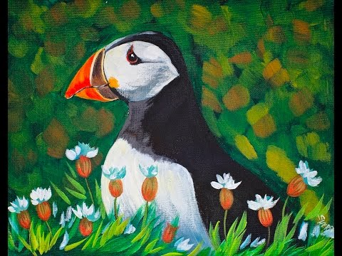 Painting on Canvas Puffin Paint Step by Step Acrylic  for Beginners