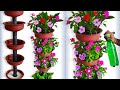 Beautiful Flower Garden Tower Using Terracotta Pots For Your Small  Home Garden//GREEN PLANTS