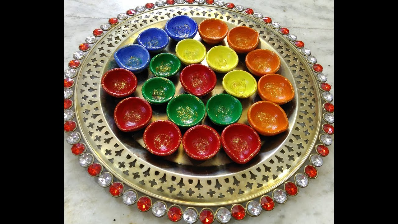 Diy diya decoration diwali home decoration ideas youtube for Diya decoration youtube