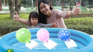 Learn Colors with Balloons For Kids | How To Make A Balloon Powered Boat