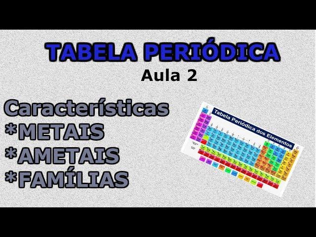 Tabela Periódica Aula 2- Metais, Ametais, Gases Nobres e Famílias