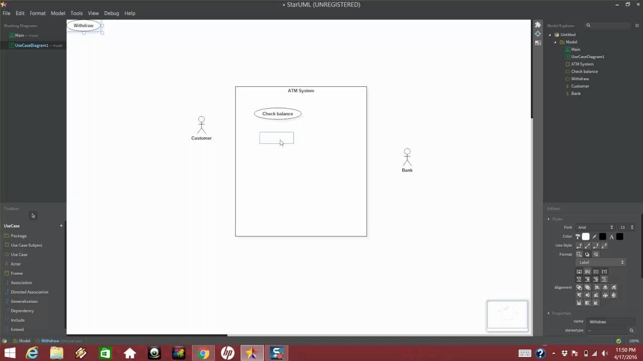 hight resolution of use case diagram using staruml
