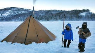 Extreme Winter Camping in Alaska (-26C) Backcountry Hot Tent Camping with Kids