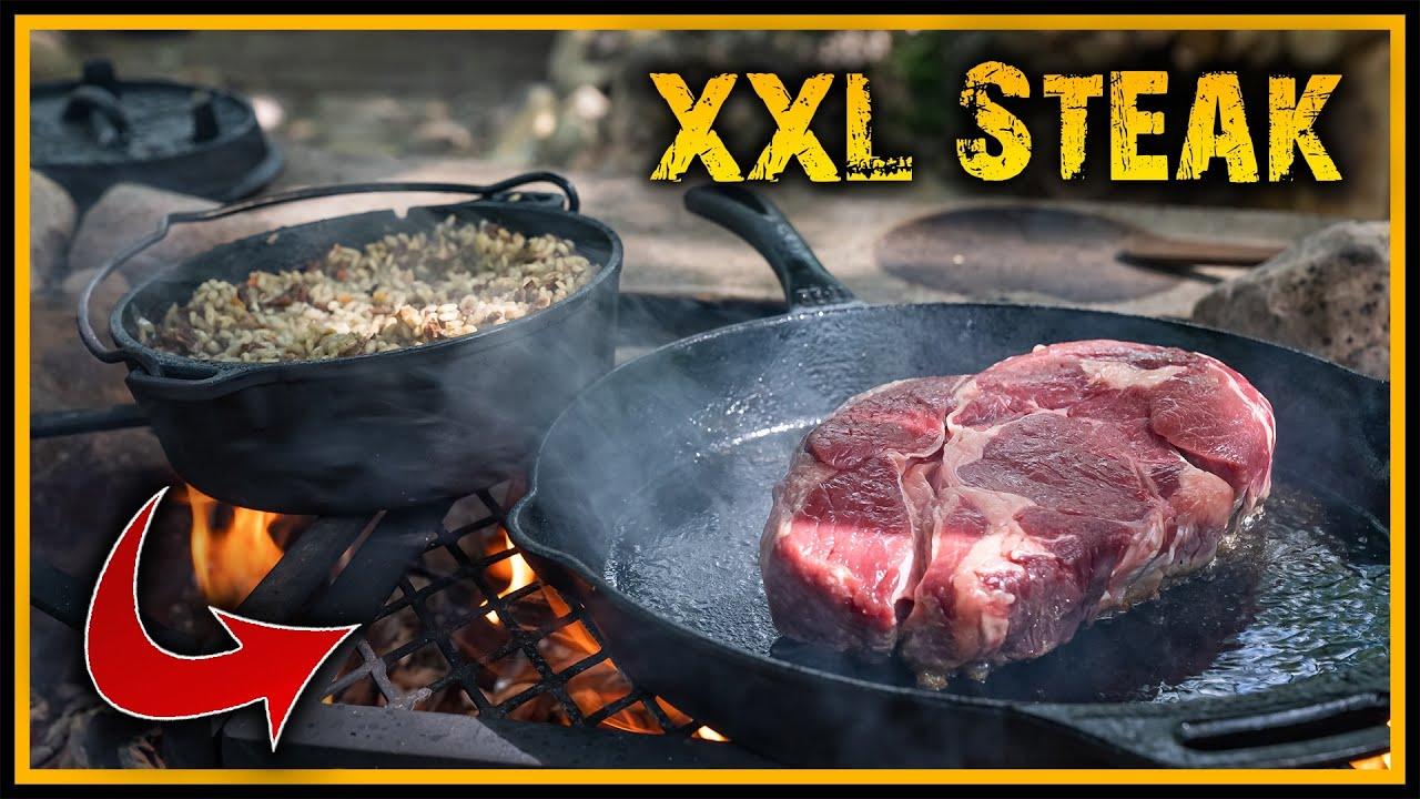 XXL Highrib Steak und Pilzrisotto kochen - Outdoor Bushcraft Survival Deutschland
