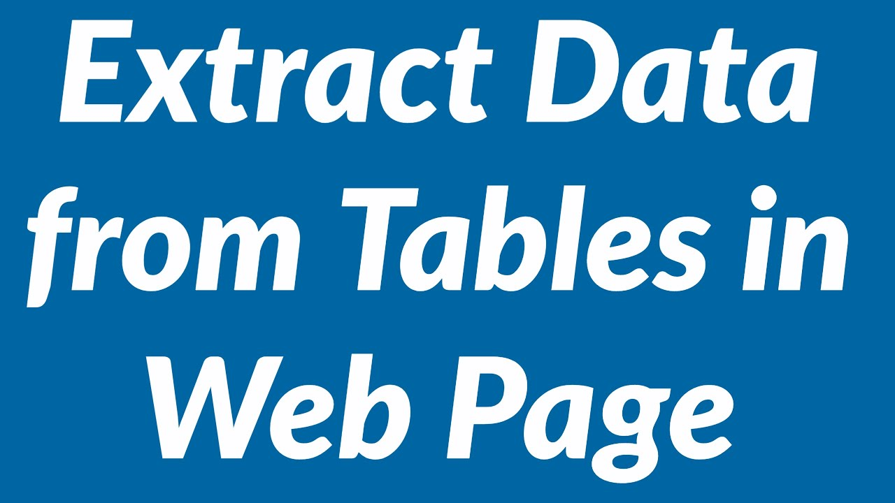 How to extract data from multiple tables in a web page