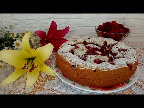Пирог с малиной свежей в мультиварке