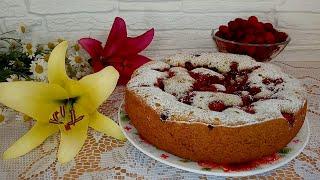 Пирог с малиной в мультиварке. Простой, быстрый, мягкий и вкусный.