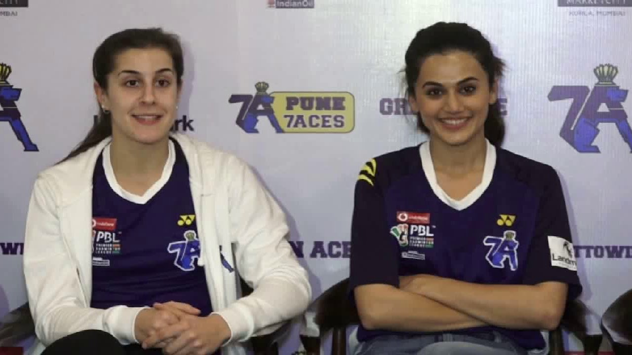 Taapsee Pannu and Mathias Boe At Unveiling Of Pune7Aces Team Jersey