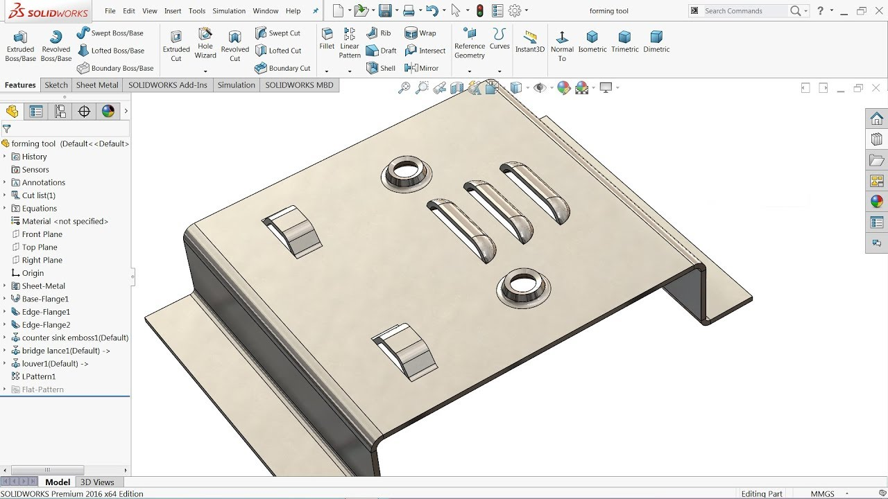 Solidworks Tutorial Sheet Metal Forming Tool Youtube