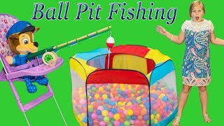 Paw Patrol goes Ball Pit FIshing with the Assistant