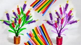 cara mudah membuat bunga dari sedotan kreatif warna   DIY craft straws
