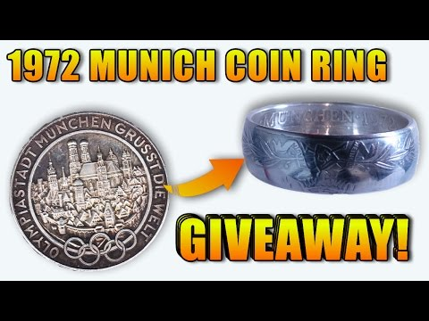 1972 Munich olympic silver coin folded into  into a ring