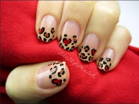 Heart Leopard Nail Art