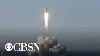 Watch: SpaceX Falcon Heavy rocket blasts off, carrying satellite