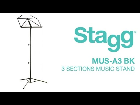 MUS-A3 BK 3 Sections Music Stand | Stagg Music