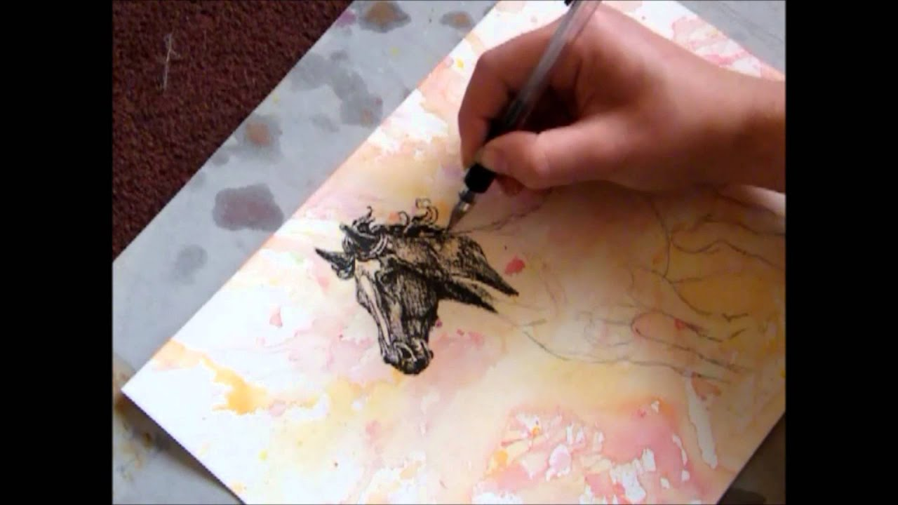 Speed Drawing Horse, Watercolor And Ink 'kara'