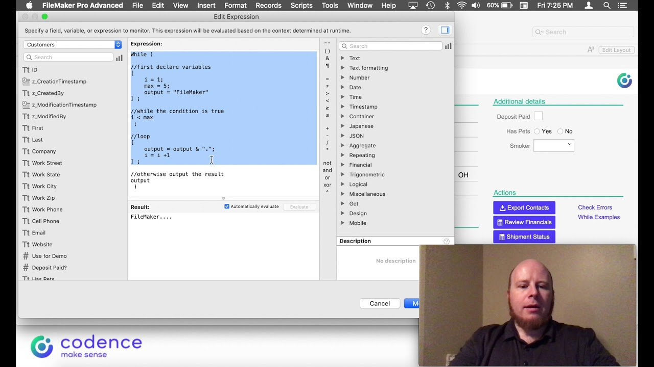 FileMaker While Function   Codence
