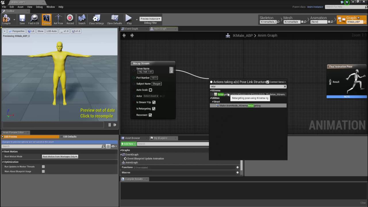 Creating an animation blueprint in liveaction 30 step 3 youtube malvernweather Images