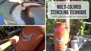 Garden decor stencils! Multi-color Stenciling Technique for Outdoor Country Decor