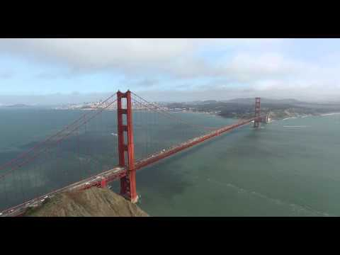 12,000 ft Across the Golden Gate Bridge - Aerial in 4k
