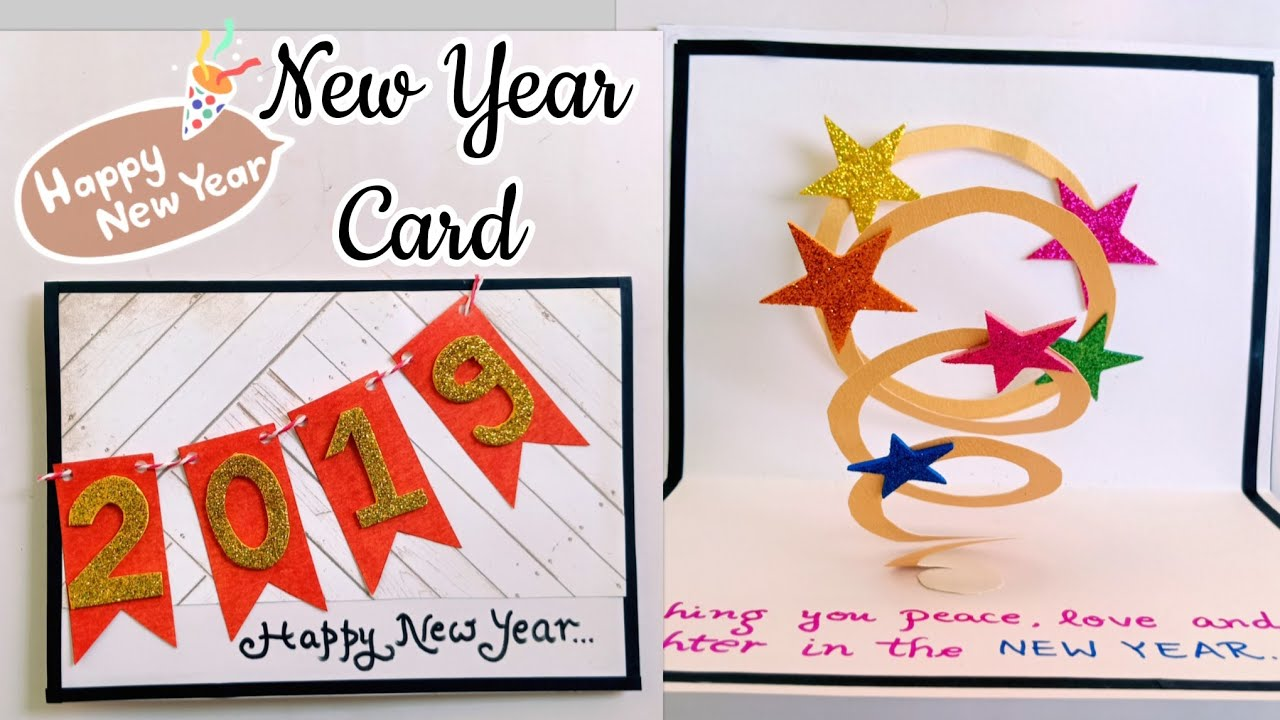 Handmade New Year Card How To Make New Year Card 2019 New Year Pop
