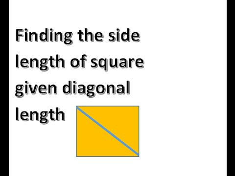 Side Length Of A Square From The Diagonal Youtube