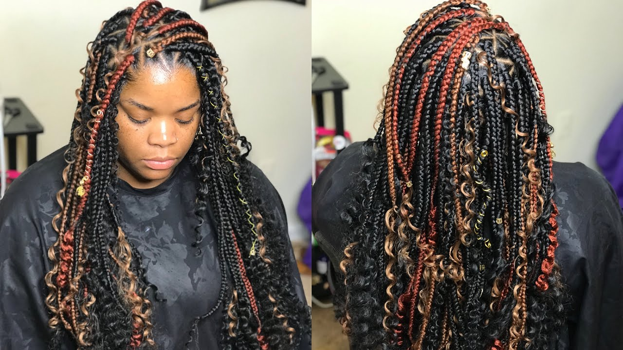 How To Do Triangle Box Braids And Curls Very Detailed