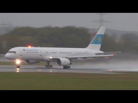 [FullHD] Kazakhstan Government Boeing 757-200 landing, taxi & takeoff at Geneva/GVA/LSGG