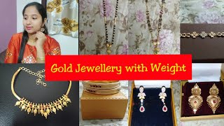 My Gold Jewellery Collection with weight | Earrings, Black Beads, Bracelets, Necklace
