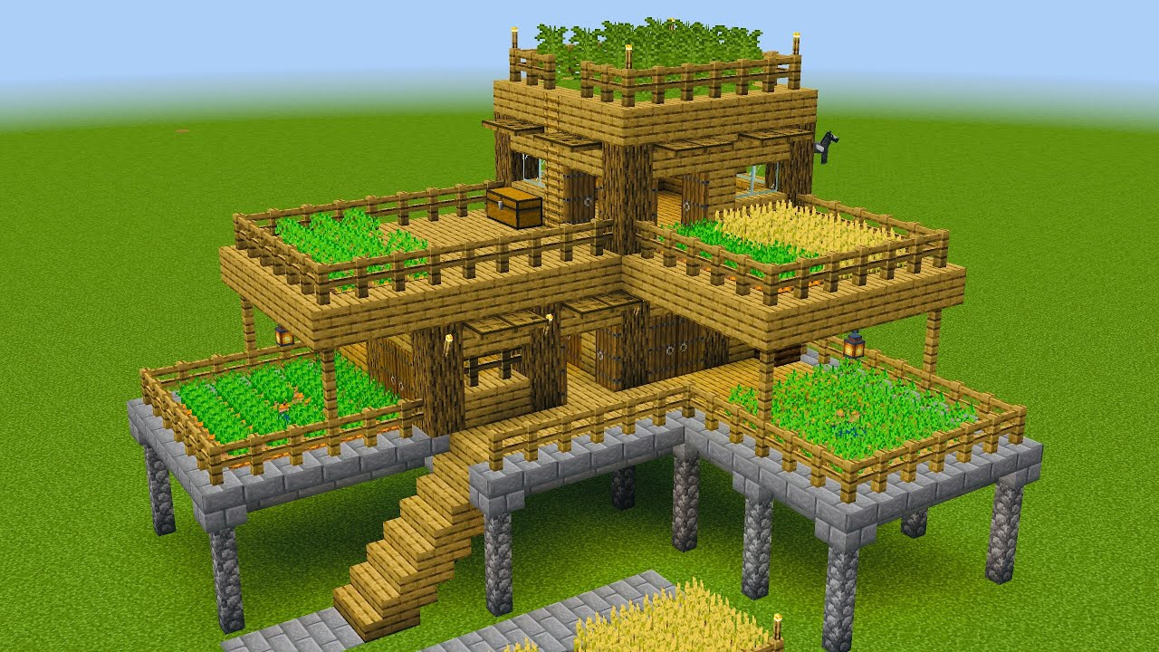 Minecraft - How to build a large survival house with farm ...