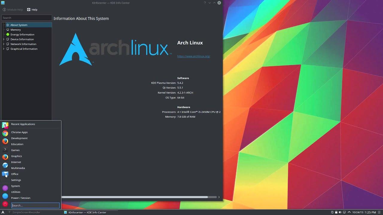 Arch Linux Plasma 5 - 1 minute peek
