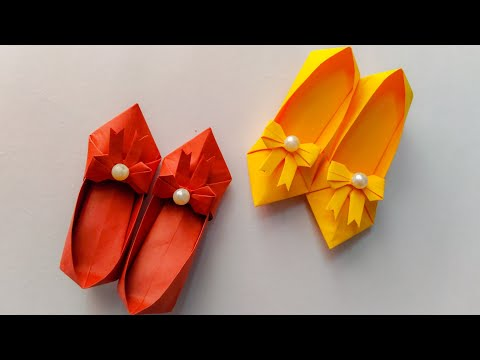 How To Make Beautiful Paper Shoes   Origami Shoes DIY Tutorial   Paper Shoes Craft   Paper Crafts