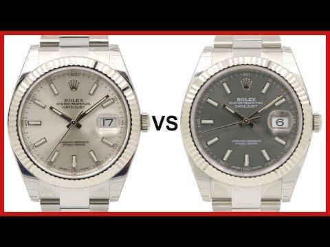 ▶ Rolex Datejust 41, Fluted White Gold Bezel & Steel, COMPARISON Silver VS Dark Rhodium - 126334