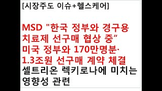 """[시장주도 이슈+헬스케어]MSD """"한국 정부와…"""