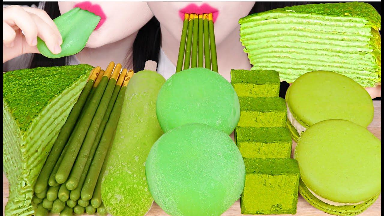 ASMR GREEN TEA FOOD *GREEN TEA ICE CREAM, CHEWY ICE CREAM, PAVE CHOCOLATE 녹차 아이스크림 먹방 EATING SOUNDS