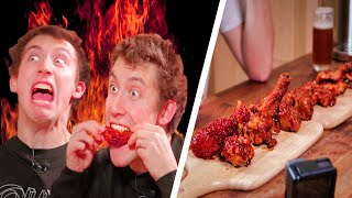 We Try the SPICIEST Chicken Wings in Korea!!🔥🔥💀