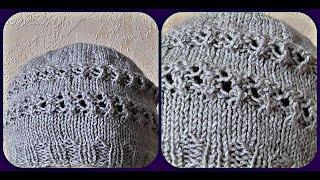 Вязание женской бежевой шапки спицами. Схема. Видео урок.