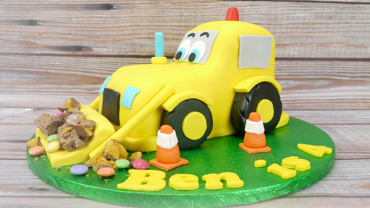 digger cake template - how to make a digger cake youtube
