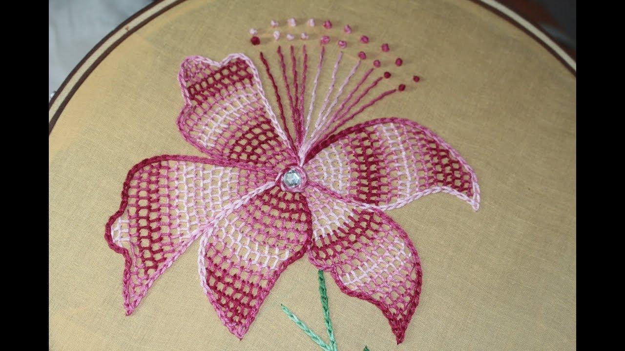 Hand Embroidery Designs Net Stitch Design Youtube