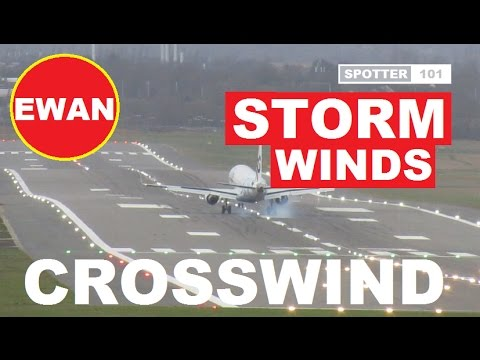 UK STORM EWAN Flybe Plane Extreme Crosswind Winds Airplane Landing Video