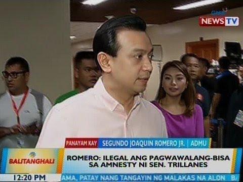 BT: Romero: Ilegal ang pagwawalang-bisa sa amnesty ni Sen. Trillanes