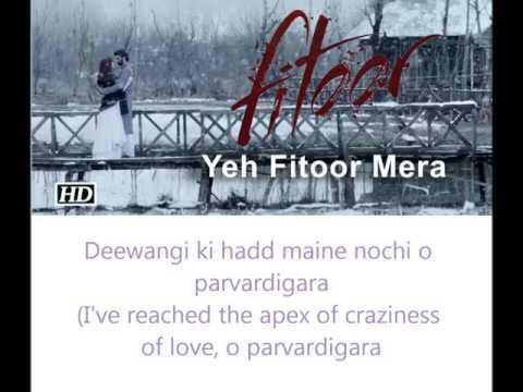 Ye Fitoor Mera Eng and hindi lyrics