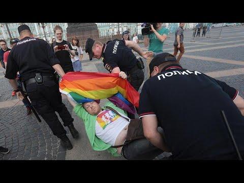 Russian police break up Gay Pride protest in St Petersburg