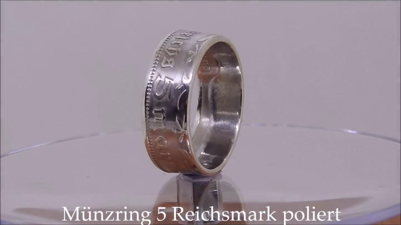 Münzring Coin Ring 5 Reichsmark Paul Von Hindenburg Poliert