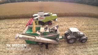 Mais dreschen 2015 mit Claas Lexion 670 Terra Trac und mobiler Mühle