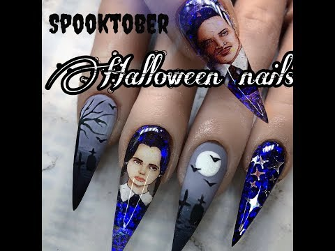 Acrylic nail tutorial/ Halloween nails/ decal nails thumbnail