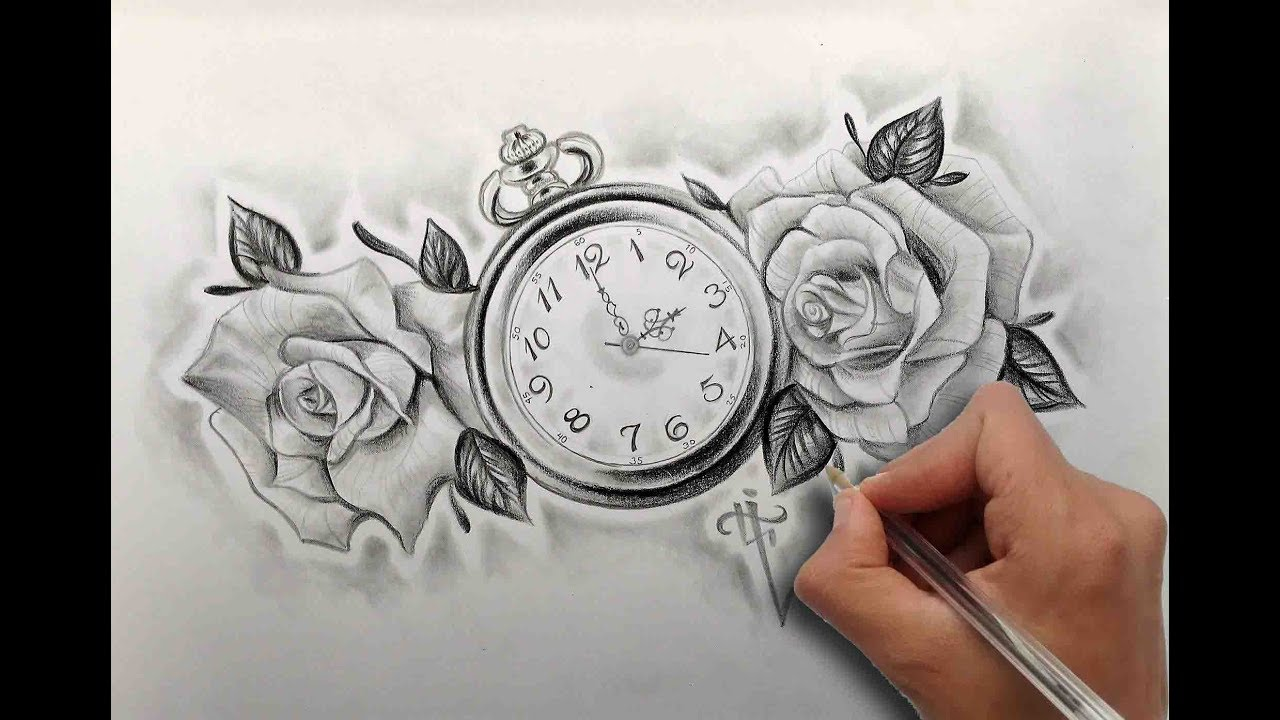 Dibujando Un Reloj Y Rosas Tattoo Design Clock And Roses Tattoo