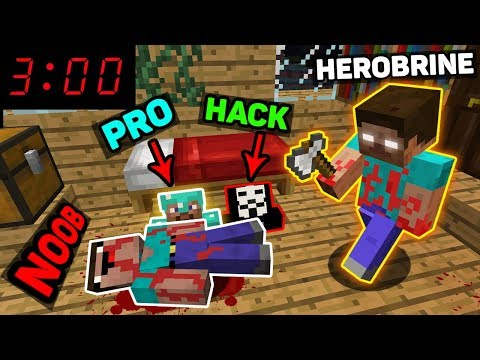 Minecraft - NOOB vs PRO vs HACKER vs HEROBRINE - DON'T PLAY MINECRAFT AT 3:00 AM Challenge! thumbnail