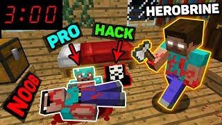 Minecraft - NOOB vs PRO vs HACKER vs HEROBRINE - DON'T PLAY MINECRAFT AT 3:00 AM Challenge!