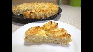 Творожно-овсяный пирог с яблоками, без муки! Быстро, вкусно, полезно!